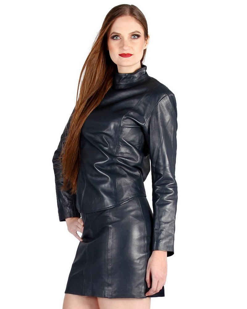 Fetish-Design Langarmbluse »Leder Oberteil Dunkelblau Blau Ledertop Top Shirt Jacke aus echtem Lamm Nappa Leder«