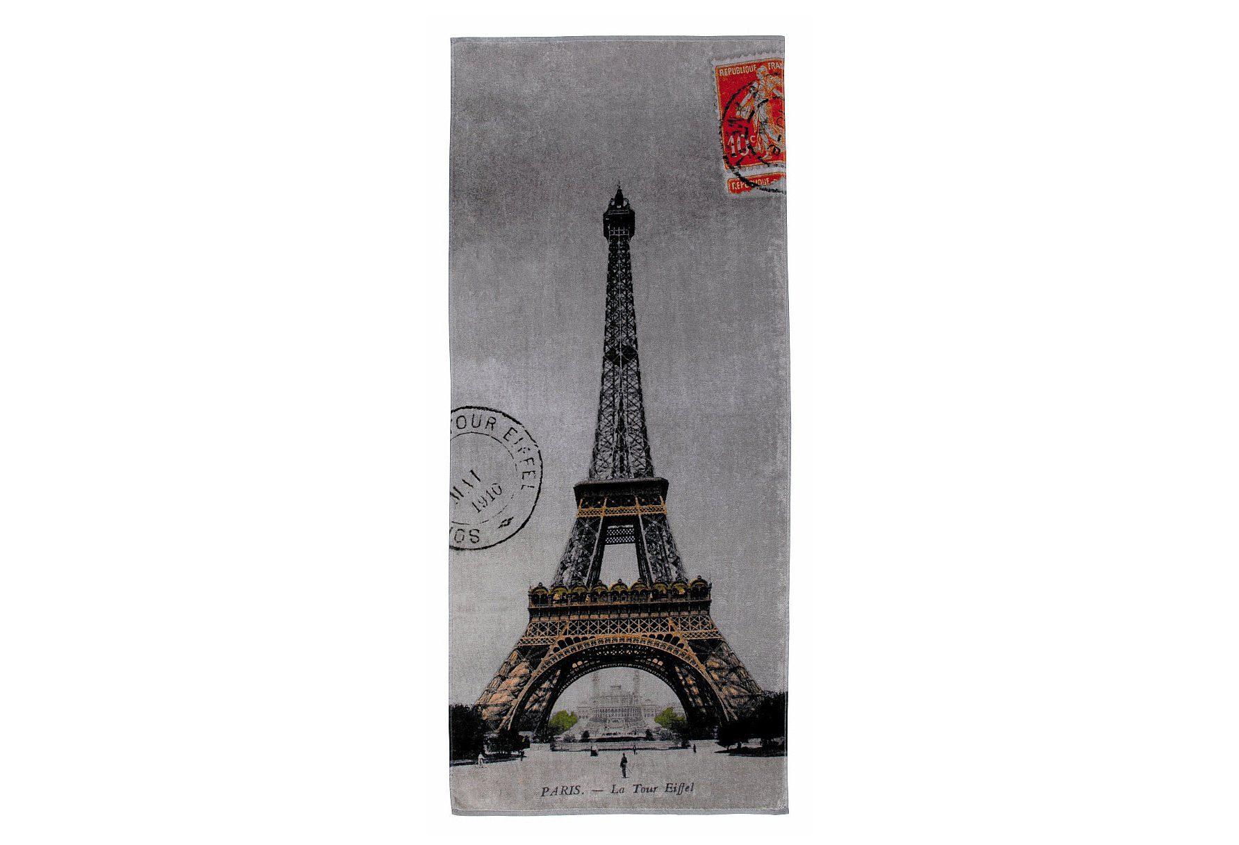 Strandtuch, Möve, »Eiffelturm«, in Postkarten-Optik