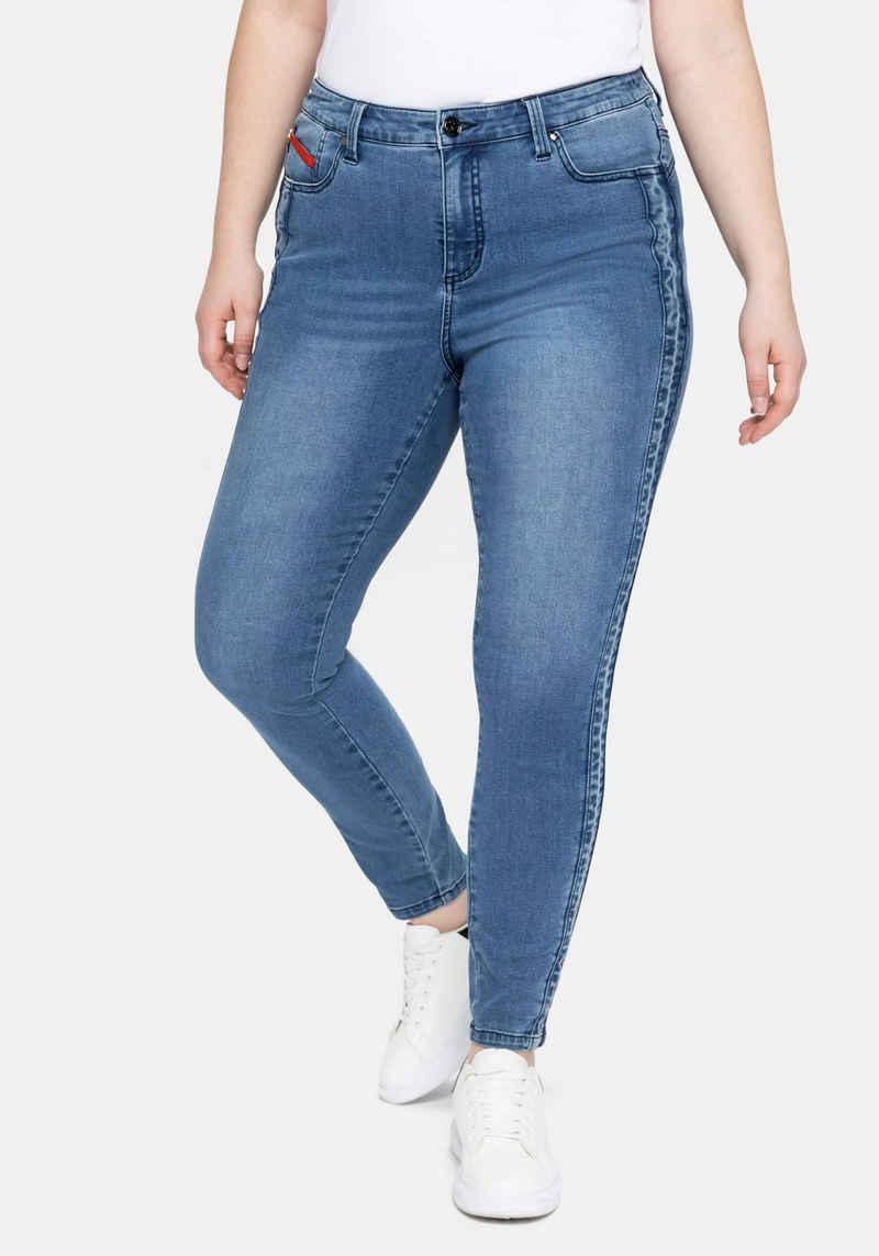 Sheego Stretch-Jeans in Knöchlänge, mit seitlichem Tape