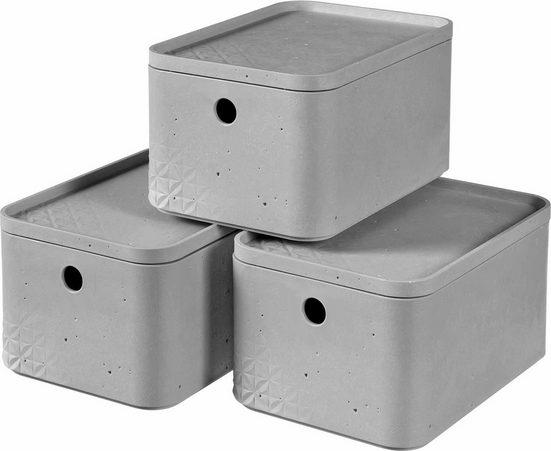Curver Aufbewahrungsbox »BETON S« (Set, 3 Stück), stapelbar, je 4 Liter
