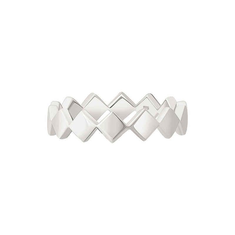 CAÏ Silberring »925 Silber rhodiniert Rauten«, Glänzend