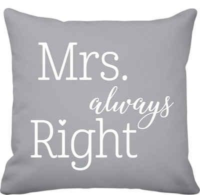 Krasilnikoff Kissenhülle »Krasilnikoff Kissen 50x50 Mrs. Always Right Grau«