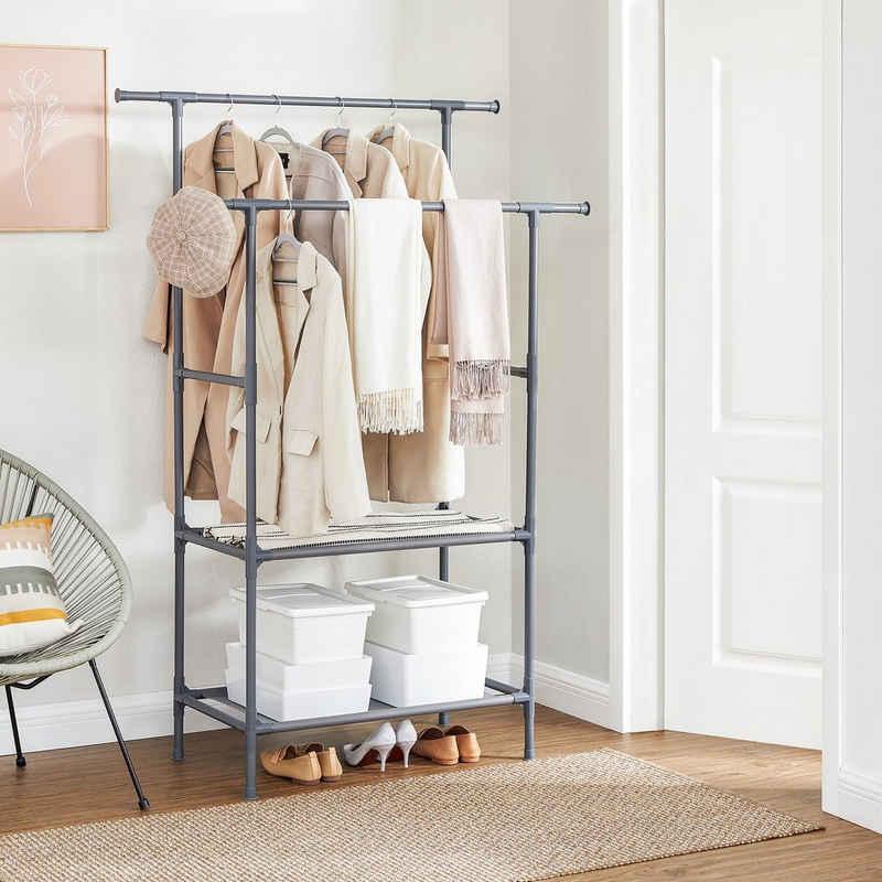 SONGMICS Kleiderständer »RDR02WT RDR002G02«, Garderobenständer aus Metall, 2 Ablagen, grau