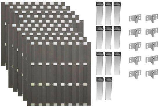 TETZNER & JENTZSCH Set: Bohlenzaun »Jackson 8«, 10 Elemente, LxH: 1877x180 cm
