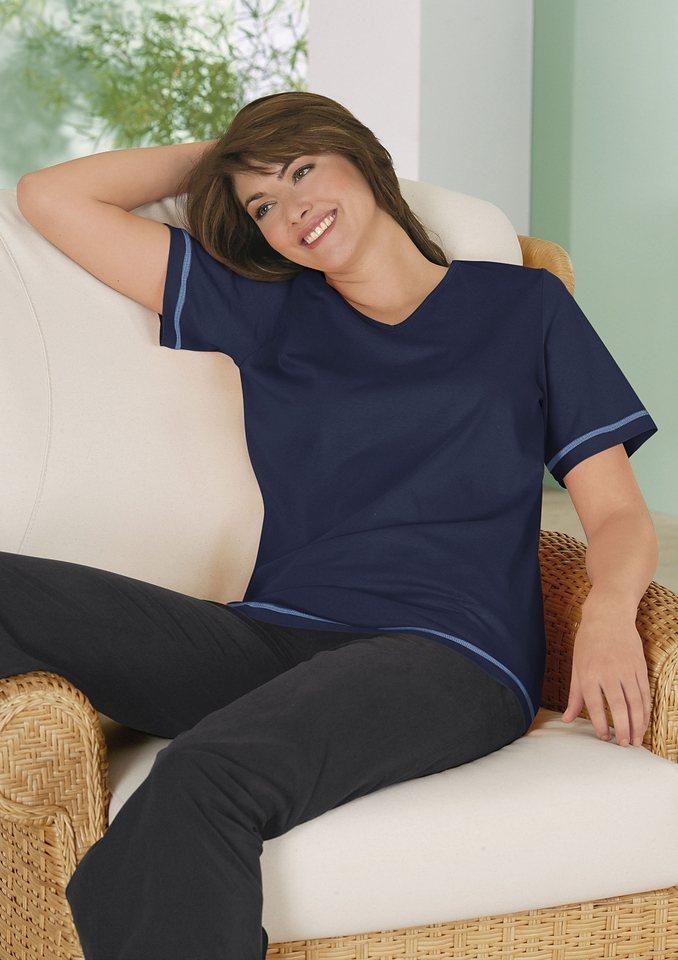 Classic Basics Shirt mit Seitenschlitze in marine