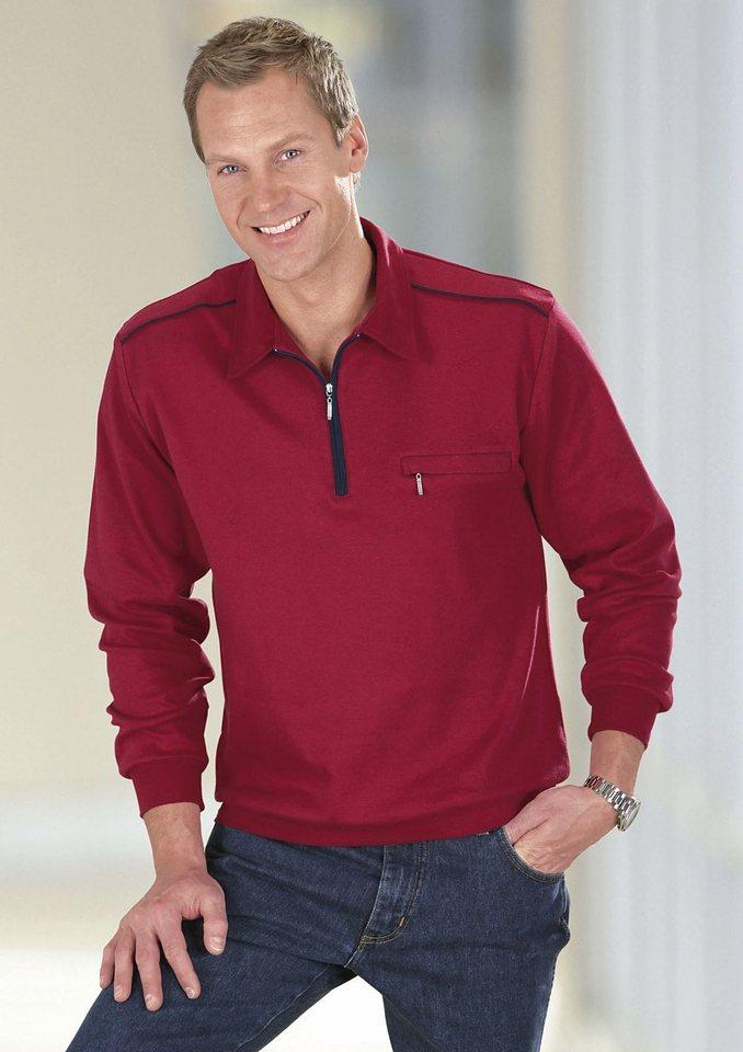 Classic Basics Poloshirt mit elastischen Bündchen in weinrot