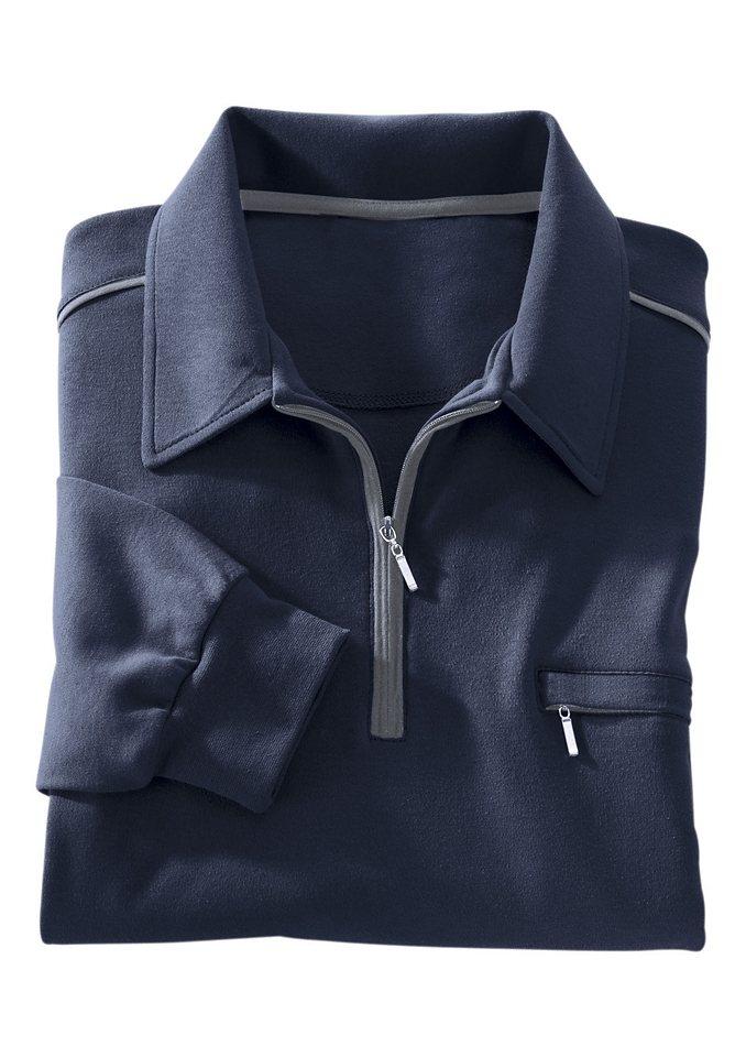 Classic Basics Poloshirt mit elastischen Bündchen in marine