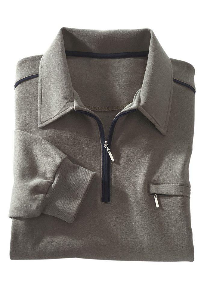 Classic Basics Poloshirt mit elastischen Bündchen in schilf