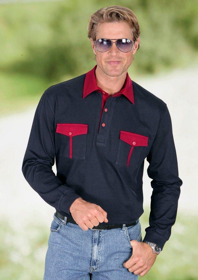 Classic Basics Poloshirt mit Paspelierungen in marine