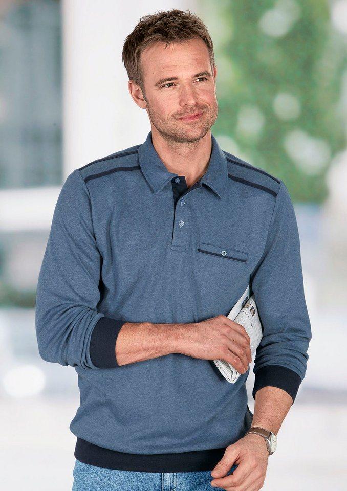 Classic Basics Sweatshirt mit Knopfverschluss in jeansblau