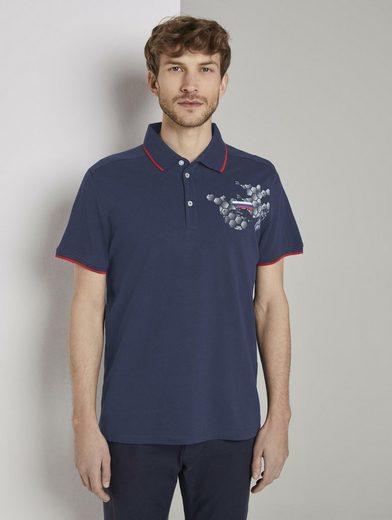 TOM TAILOR Poloshirt »Sportliches Poloshirt mit Fußball-EM-Print«