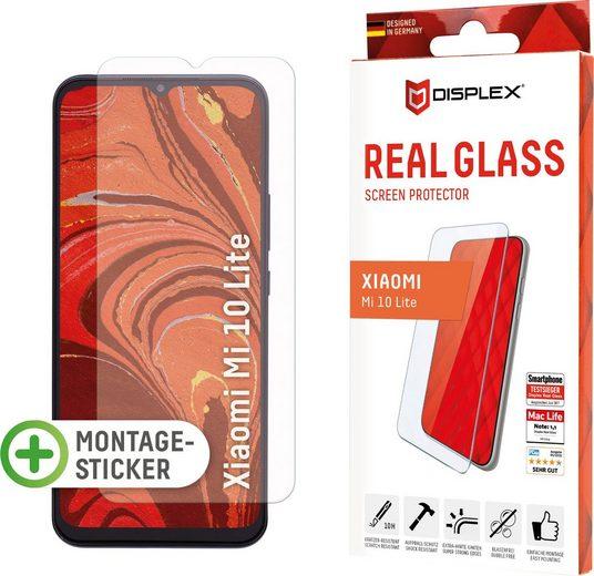 Displex »DISPLEX Real Glass Panzerglas für Xiaomi Mi 10 Lite (6,6), 10H Tempered Glass, mit Montagesticker, 2D« für Xiaomi Mi 10 Lite, Displayschutzglas, 1 Stück