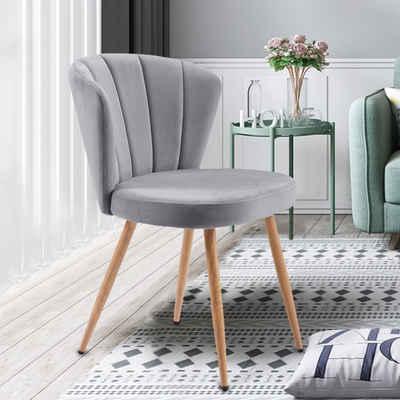 Merax Polsterstuhl »Aura« (1 Stück), 1 PC Esszimmerstühle Samt Küchenstuhl Wohnzimmerstuhl mit Rückenlehne Vintage Sessel Komfort Sitzgefühl