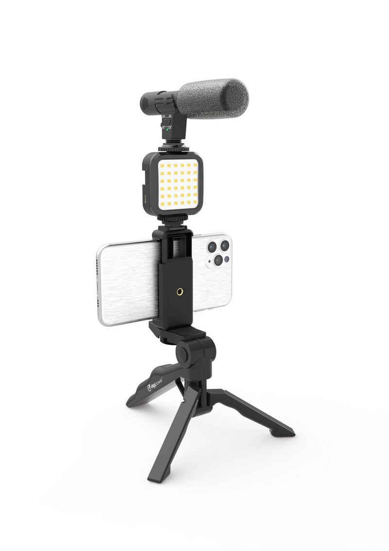 """DigiPower »Vlogging Set """"Like Me"""" mit LED-Videoleuchte + Mikrofon + Handy Halterung + Handgriff / Mini-Stativ, kompatibel mit Smartphones, für TikTok, Youtube, Live-Streaming und Meetings« Smartphone-Halterung, (4-tlg)"""