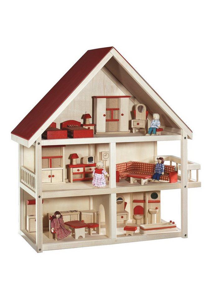 Roba, Puppenhaus 3-stöckig inkl. Möbel und Puppen, »Villa Bunt«