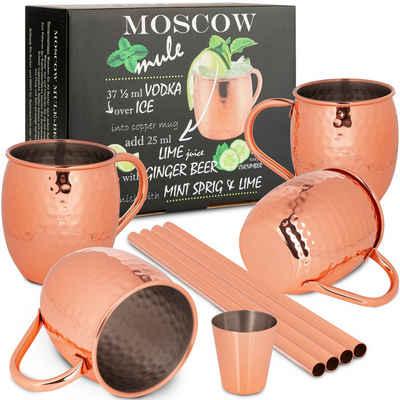 ONVAYA Cocktailglas »Moscow Mule Becher Geschenk Set mit 4 Bechern, Barmaß & Strohhalm, Kupferbecher für Cocktails, 4 Kupfertassen mit 480ml Fassungsvermögen, Komplettset Gin Mule, Munich Mule«