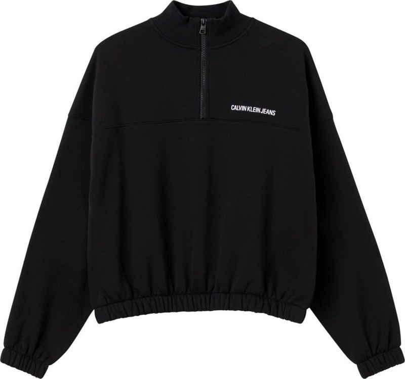 Calvin Klein Jeans Sweatshirt »vertical institutional half zip« mit großem, vertikalem Calvin Klein Logo-Schriftzug hinten