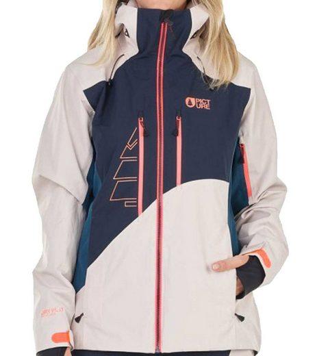 Picture Skijacke »Picture Seen Snowboard-Jacke modische Ski-Jacke für Damen mit Kapuze Winter-Jacke Blau/Beige/Orange«