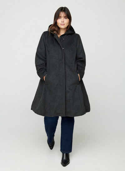 Zizzi Outdoorjacke Große Größen Damen kapuze Reißverschluss knöpfe taschen