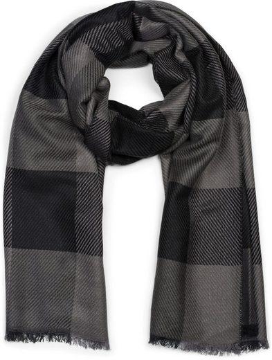 styleBREAKER Schal »Schal mit 2-farbigem Streifen Karo Muster« Schal mit 2-farbigem Streifen Karo Muster