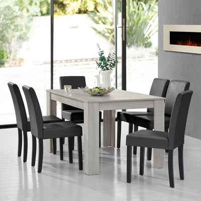 en.casa Essgruppe, (7-tlg., Esstisch mit 6 Stühlen), »Forssa« 140x90cm Küchentisch mit 6x Polsterstühlen