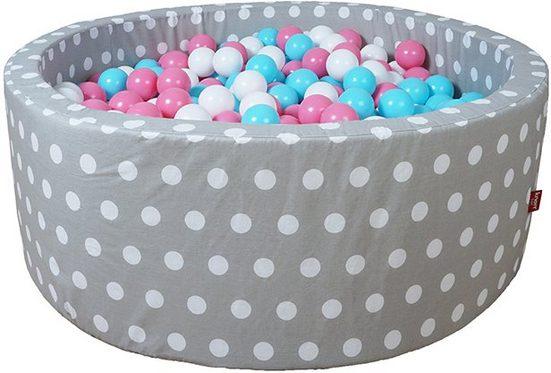 Knorrtoys® Bällebad »Soft, Grey white dots«, mit 300 Bällen rose/creme/lightblue; Made in Germany