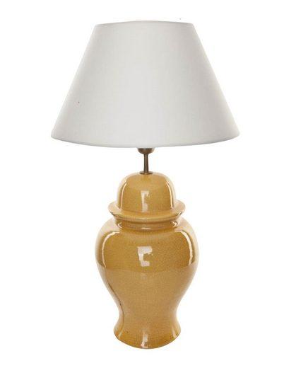 Signature Home Collection Schreibtischlampe, Tischlampe Keramik gelb mit Lampenschirm