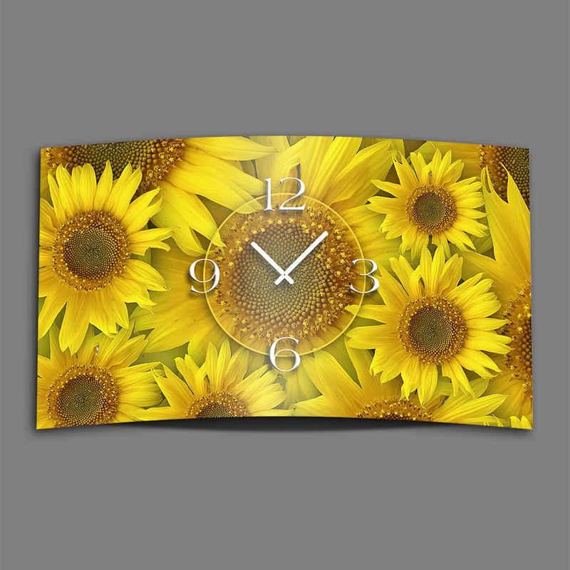 dixtime Wanduhr »Sonnenblumen Designer Wanduhr modernes Wanduhren« (Einzigartige 3D-Optik aus 4mm Alu-Dibond)