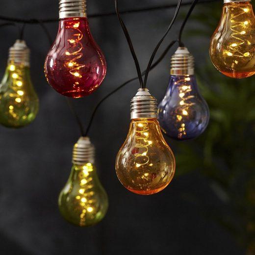 STAR TRADING LED-Lichterkette »LED Lichterkette Glühbirne Glow 10 warmweiße LED L: 1,9m Lichtsensor bunt«, 10-flammig