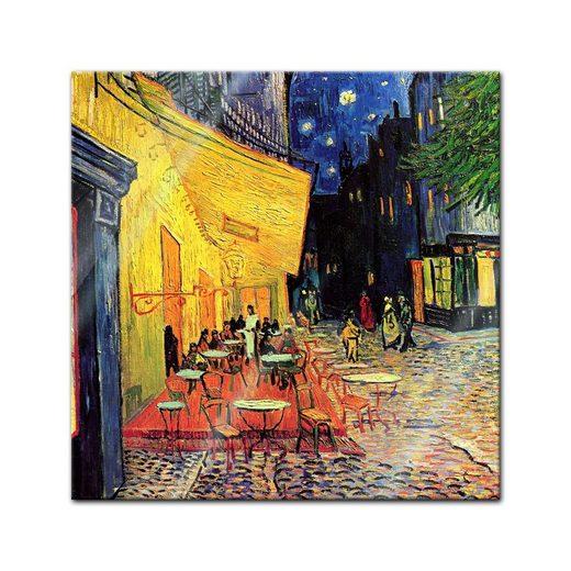 Bilderdepot24 Glasbild, Glasbild Vincent van Gogh - Alte Meister - Caféterrasse am Abend -