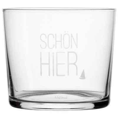 """Räder Design Glas »Wasserglas """"Schön hier""""«, Glas mit Frostung, Maße: 8 x 7 cm"""