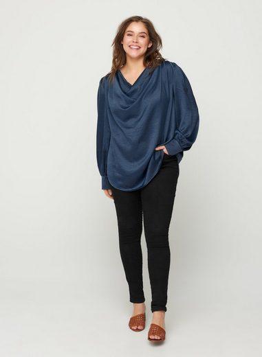Zizzi Langarmbluse Große Größen Damen Elegante Shiny Bluse mit langen Ärmeln