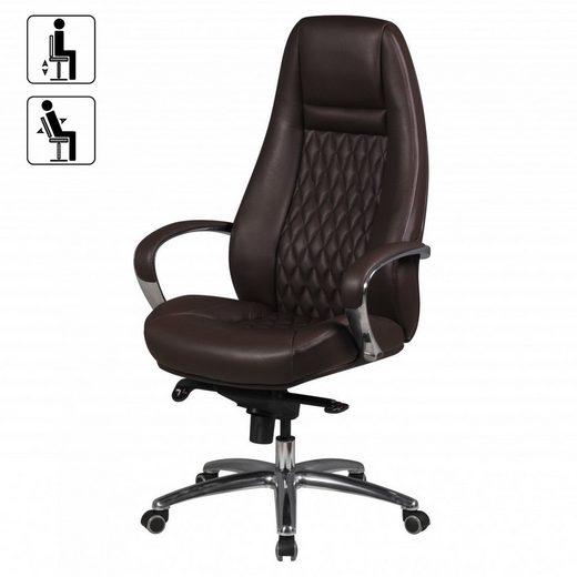 Amstyle Chefsessel »SPM1.300« Bürostuhl AUSTIN Echt-Leder Braun Schreibtischstuhl 120 KG Chefsessel hohe Rückenlehne mit Kopfstütze X-XL