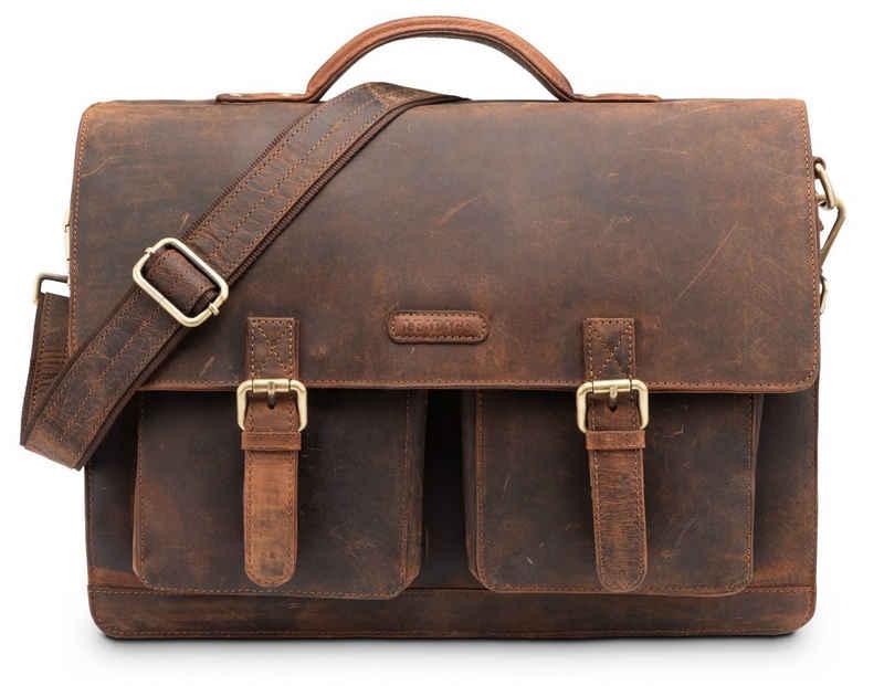 LEABAGS Aktentasche »Miami«, Aktentasche Laptoptasche 15 Zoll Schultertasche aus echtem Leder, (LxBxH): ca. 40 x 12 x 31 cm - Rouge