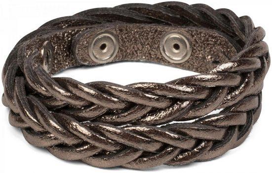 styleBREAKER Lederarmband »Leder Armband in Flecht Optik«, Leder Armband in Flecht Optik