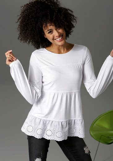 Aniston CASUAL Shirtbluse mit hochwertiger Spitze am Saum