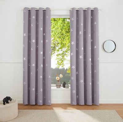 Gardine »Blackout Curtain With Foil Print Star«, my home, Ösen (1 Stück)
