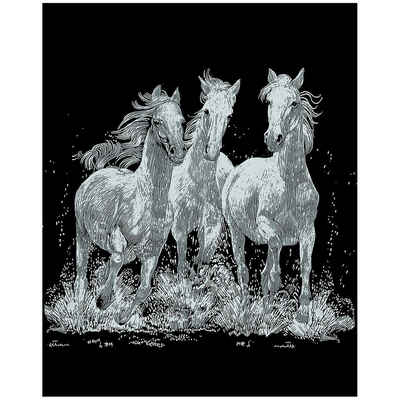 MAMMUT Spiel und Geschenk Bild »Scraper Silber-Kratzbild Pferde«