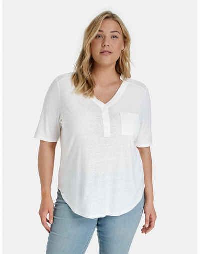 Samoon Kurzarmshirt »1/2 Arm Shirt aus Leinen-Mix« (1-tlg)
