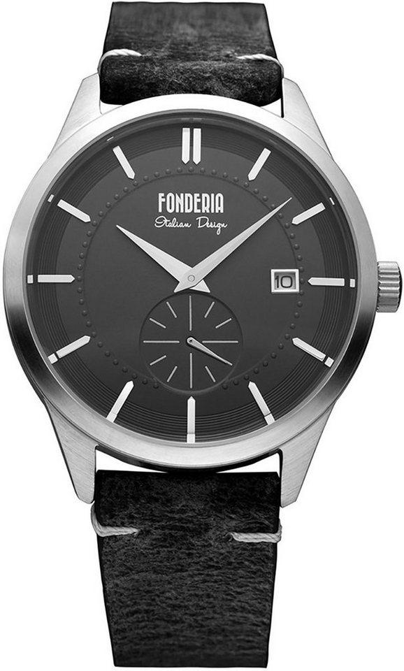 fonderia -  Chronograph »UAP6A009UN1  Herren Uhr P-6A009UN1 Leder«, (Analoguhr), Herren Armbanduhr rund, groß (ca. 41mm), Lederarmband schwarz