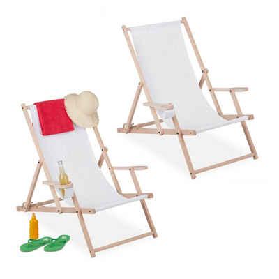 relaxdays Gartenliege »Liegestuhl klappbar Holz 2er Set«