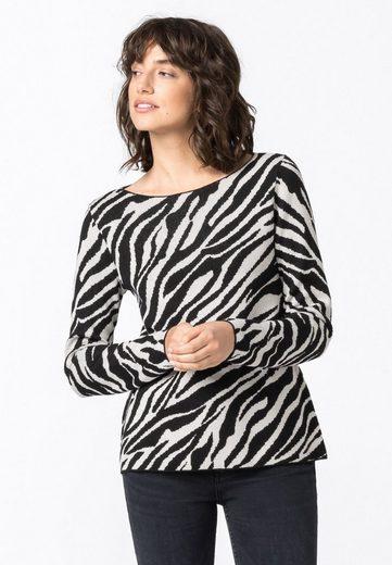 HALLHUBER Strickpullover »mit Zebradessin«