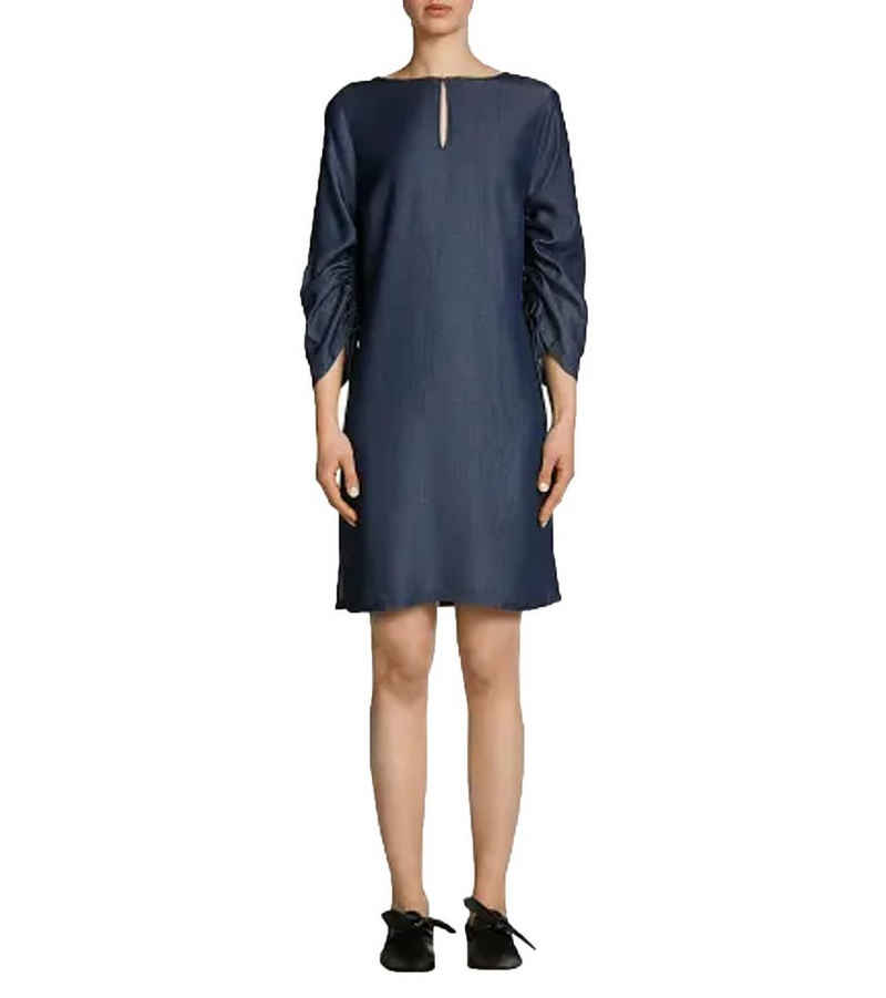 Oui Sommerkleid »OUI Kleid gemütlich schlichtes Damen Kurz-Kleid Freizeit-Kleid mit verstellbaren Ärmeln Dunkelblau«