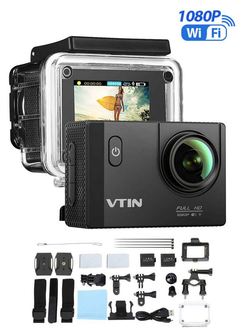 "dynamic24 Action Cam (HD, WLAN (Wi-Fi), Action Sport Kamera WIFI Full HD 1080P 2"" Weitwinkel 170° Wasserdicht SDHC Cam)"