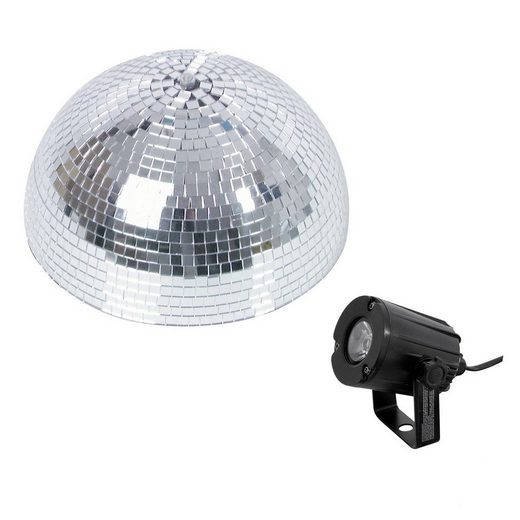 SATISFIRE Discolicht »Set Halbspiegelkugel 30cm + 1 x LED Pinspot 3W Kaltweiss«
