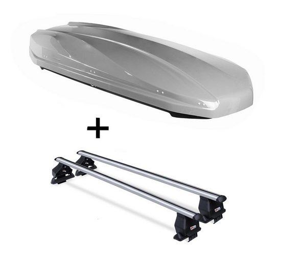 VDP Fahrradträger, DACHBOX STRIKE 440 Liter grau + Dachträger Menabo Tema kompatibel mit Peugeot 107 (5Türer) 2005-2014