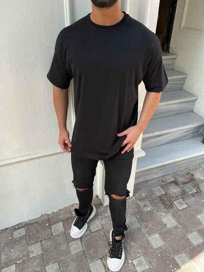 Megaman Jeans Oversize-Shirt »Oversize Herren Kurzarm T-Shirt Weiter Auschnitt Extra Lang Rundhals Herrenshirt«