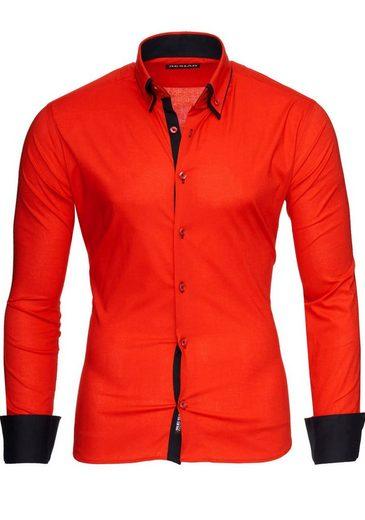 Reslad Langarmhemd »Reslad Herren Langarm Hemd Alabama RS-7050« Doppelkragen Kontrast Männer Hemden
