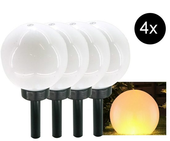 dynamic24 LED Solarleuchte, Kugel 4er Set Flamme Feuer Effekt Leuchte Lampe Garten Deko Außen Deko