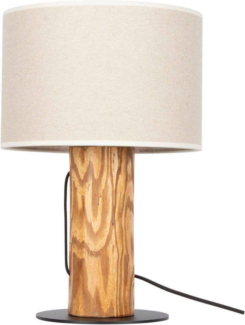 OTTO products Tischleuchte »Emmo«, Hochwertiger Leinen-Baumwoll Lampenschirm, aus Massivholz, Naturprodukt mit FSC®-Zertifikat, geeignet für LM E27 - exklusive, Made in Europe